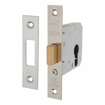 Project Contract Euro Profile Deadlock - 76mm Case - 57mm Backset - Nickel Plated