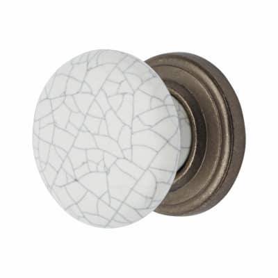 Elan Porcelain Cabinet Knob - Crackle Glaze - 35mm - Pewter Effect