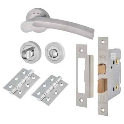 Touchpoint Alexis Lever Door Handle - Bathroom Lock Kit - Satin/Polished Chrome
