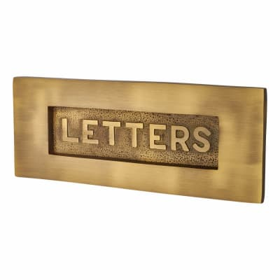 M Marcus Embossed Letter Plate - 254 x 102mm - Antique Brass