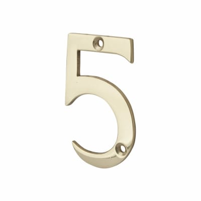 76mm Numeral - 5 - Polished Brass