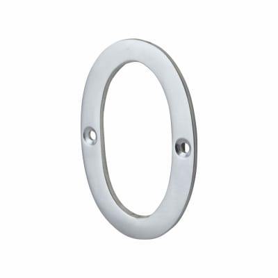 76mm Screw Fixed Numeral - 0 - Satin Chrome