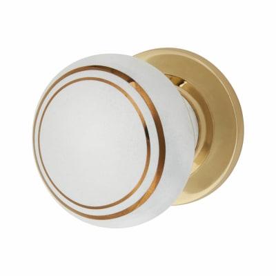 Elan Designer Mortice/Rim Door Knob - 57mm - White Porcelain/Gold