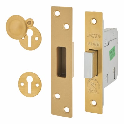 Legge Heavy Duty BS3621:2007 5 Lever Deadlock - 76mm Case - 57mm Backset - Polished Brass