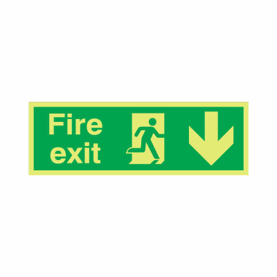 NITE-GLO Fire Exit Running Man - Arrow Down - 150 x 450mm