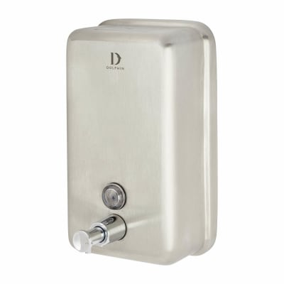 Dolphin Vertical Soap Dispenser - 206 x 121 x 72mm - Satin Stainless Steel