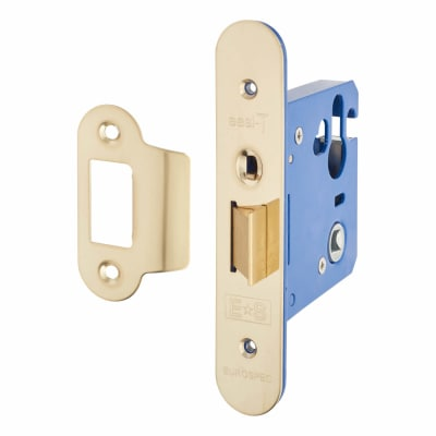 A-Spec Architectural Mortice Nightlatch - 76mm Case - 57mm Backset - Radius - PVD Brass