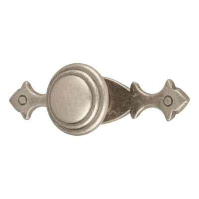 Touchpoint Fleur-de-Lys Cabinet Knob on Plate - 100 x 25mm - Pewter