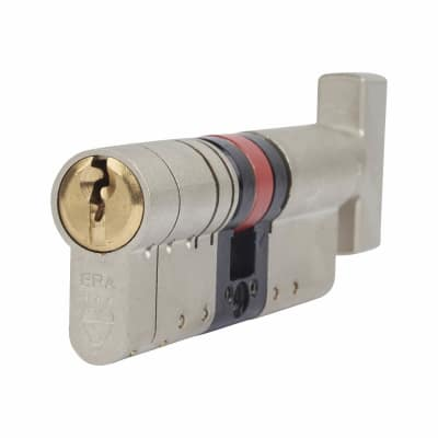 ERA 3 Star Fortress Euro Thumbturn Cylinder - 90mm Length - 45mm [Turn] + 45mm - Nickel and Brass