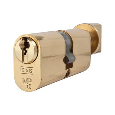 Eurospec 10 Pin 70mm Oval Thumbturn Cylinder - 35mm [Turn] + 35mm - Polished Brass - Keyed Alike