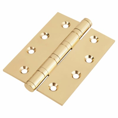 Performance Ball Bearing Hinge - 100 x 75 x 3mm - Polished Brass - Pair