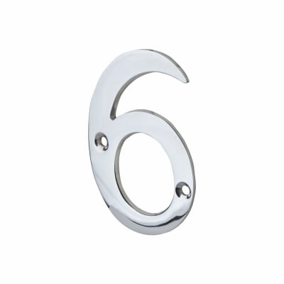 76mm Numeral - 6 - Polished Chrome