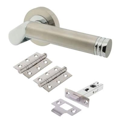 Touchpoint Helena Lever Door Handle on Rose - Door Kit - Satin/Polished Chrome