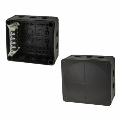 Wiska IP66 81mm Connection Box - Black