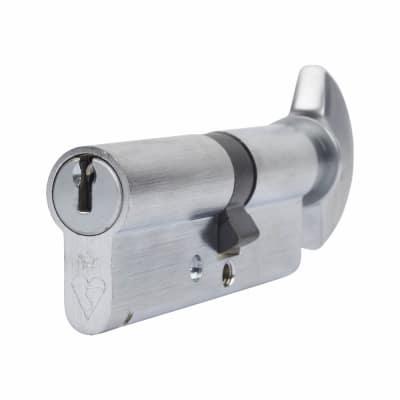 ERA 1 Star Kitemarked Euro Thumbturn Cylinder - 80mm Length - 35mm [Turn] + 45mm - Nickel