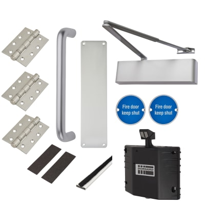 Heavy Duty Pull Handle Fire Door Kit with Hold Open Device - Aluminium