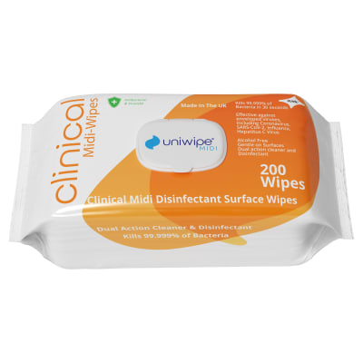 Uniwipe Antibacterial Clinical Midi-Wipes - Pack of 200