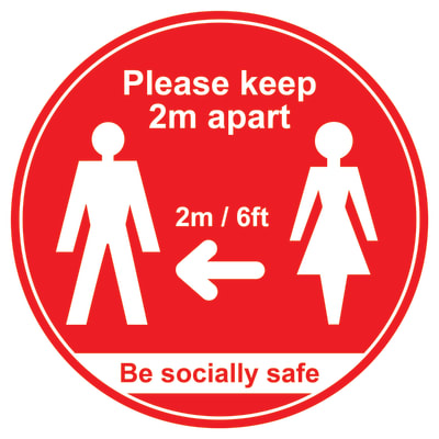 Social Distance Floor Sign - Please Keep 2m Apart - 400mm - Red
