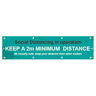 Social Distancing In Operation -  2000 x 500mm -  PVC Banner