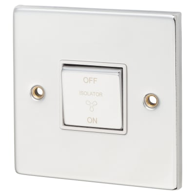 Click Scolmore 10A 1 Gang 3 Pole Fan Isolation Switch - Polished Chrome with White Inserts