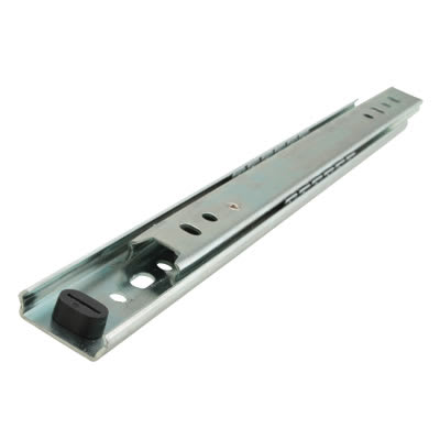 Motion 27mm Ball Bearing Drawer Runner - Single Extension - 350mm - Zinc