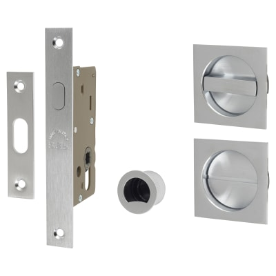 M Marcus Square Flush Privacy Handle Set with Lock - Satin Chrome