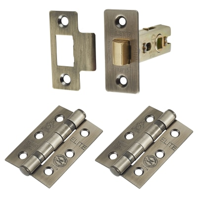 Altro Latch Pack - 57mm Backset - 2 x Fire Rated Ball Bearing Hinges - Antique Brass