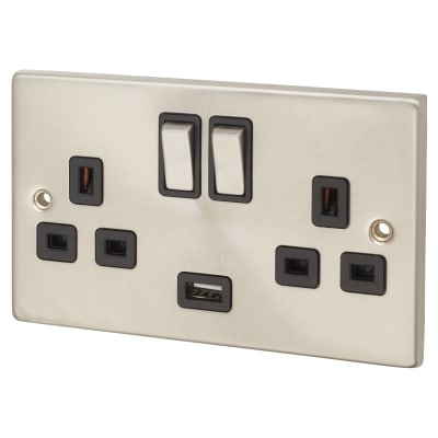 Click Scolmore 13A 2 Gang Switched Socket with USB - Satin Chrome with Black Inserts