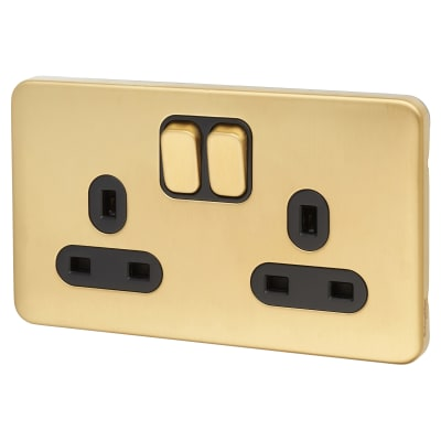 Schneider Lisse 13A 2 Gang Switched Socket - Satin Brass with Black Inserts