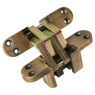 Tago Concealed Hinge - 140 x 35mm - Antique Brass - Pair
