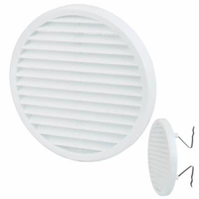 Clip Fit Round Vent - 156 x 13.5mm - 8900mm2 Free Air Flow - White Plastic