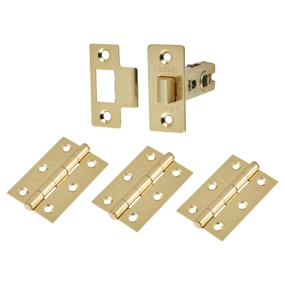 Altro Tubular Latch Pack - 44mm Backset - 3 x Fire Rated Button Tip Hinges - Electro Brass