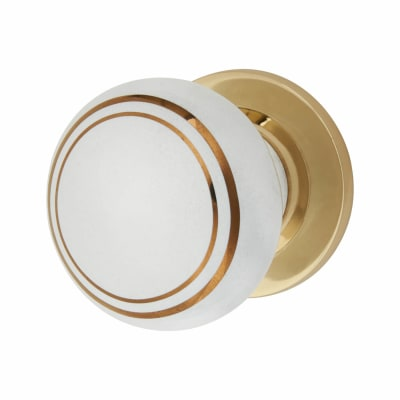 Elan Designer Mortice/Rim Door Knob - 57mm - White Porcelain/Gold