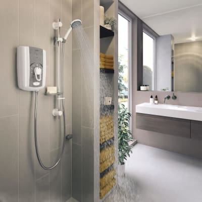 Triton Omnicare Shower 8.5kW with Grab Kit - White