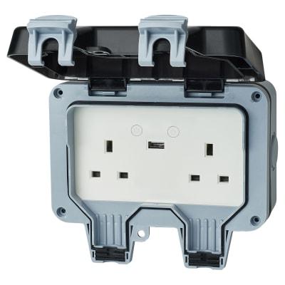 Ener-J Weatherproof 13A Wi-fi Twin Wall USB Socket - 2.1A
