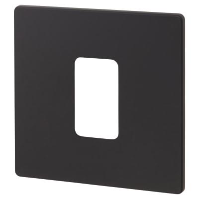 Click Scolmore 45A 1 Gang DP Plate Switch Cover Plate - Matt Black