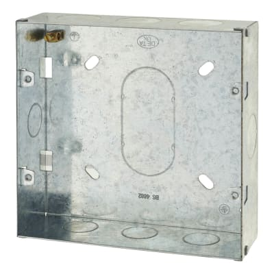 6-8 Gang Flush Grid Back Box - 43mm - Galvanised Metal