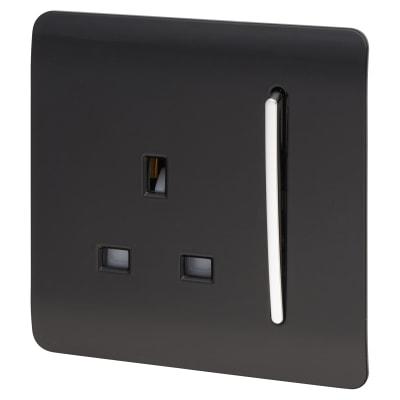 Trendi 13A 1 Gang Plug / Switch - Black
