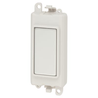 Click Scolmore GridPro Blank Module -Polished Chrome with White inserts