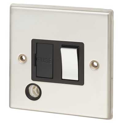Contactum 13A DP Switched with Flex Outlet - Polished Steel with Black Inserts