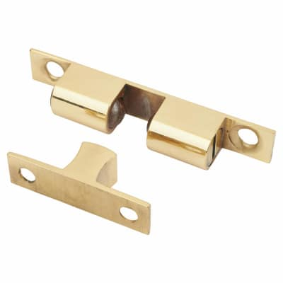 Veel-2 Double Ball Roller Catch - 70 x 10mm - Polished Brass - Pack 5