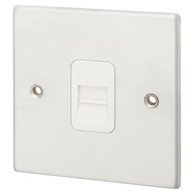 Hamilton 1 Gang Telephone Master Socket - Satin Chrome with White Inserts