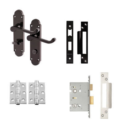 Aglio Victorian Summer Handle Door Kit - Bathroom Set - Black Nickel