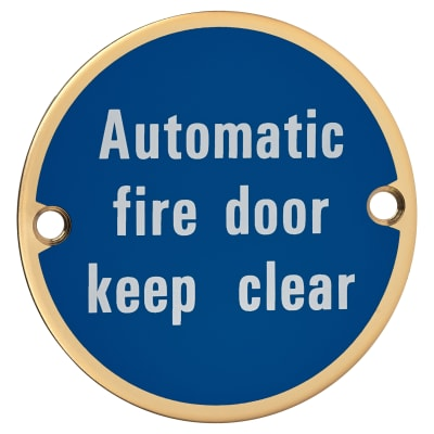 Automatic Fire Door Keep Clear - 75mm - Polished Brass