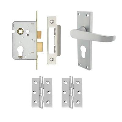 Aglio Victorian Handle Door Kit - Euro Lock Set - Satin Chrome