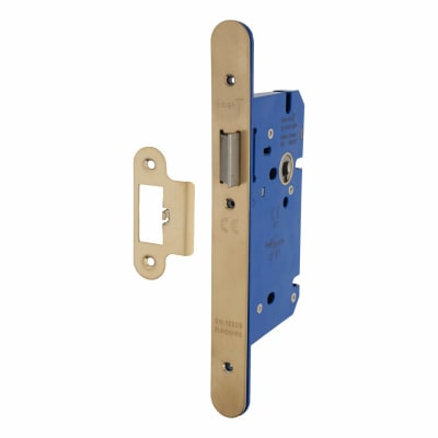 A-Spec Architectural DIN Latch - 85mm Case - 60mm Backset - Radius - PVD Brass
