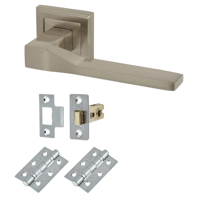 Elan Trapani Lever Door Handle on Rose - Door Kit - Satin Nickel