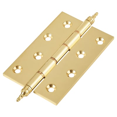 Double Phosphor Finial Hinge - 100 x 67 x 3mm - Polished Brass - Pair
