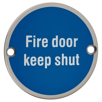 Fire Door Keep Shut - 75mm - Polished Stainless Steel