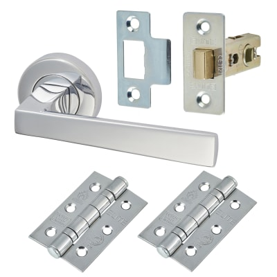 M Marcus Siloh Lever Door Handle on Rose - Door Kit - Polished Chrome